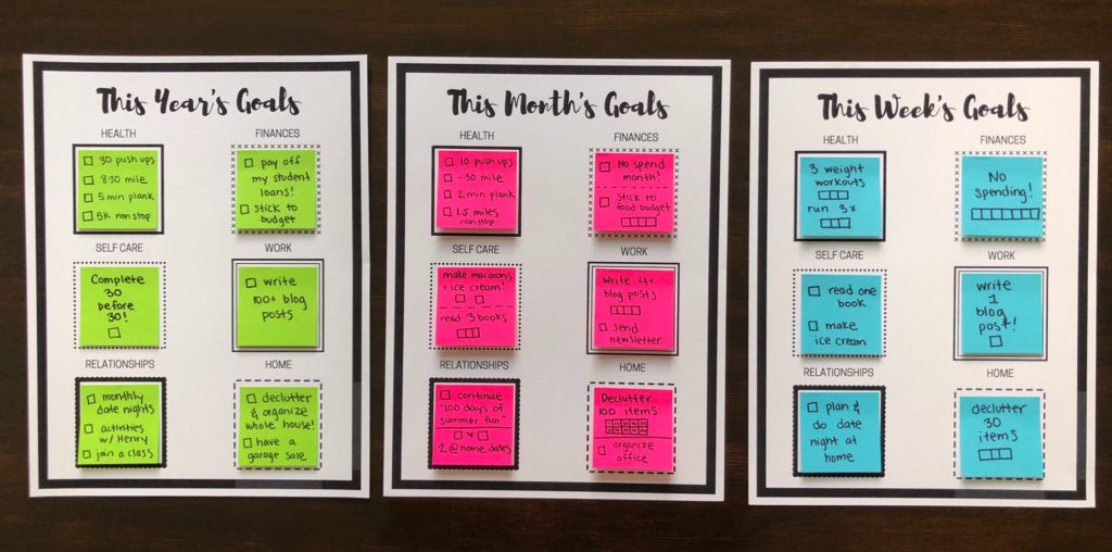 Free sticky note goal setting printables! Set yearly, monthly or weekly goals with these reusable printables! Each printable has different categories for goals including health, fitness, work, self care, relationship and home goals! #goalsetting #goalprintable #freeprintable