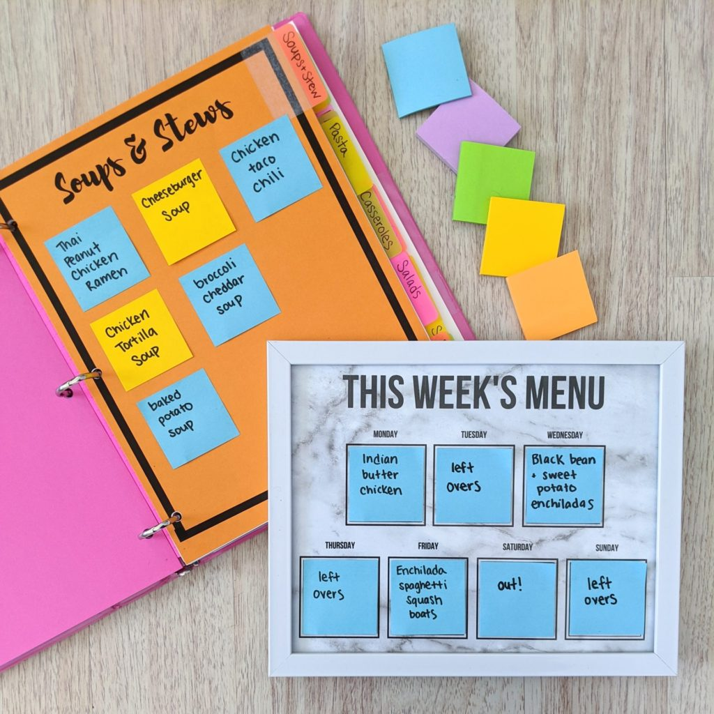 Sticky Note Meal Planning Binder